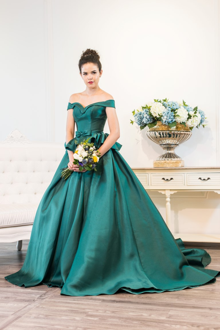 Off Shoulder Emerald Green Satin