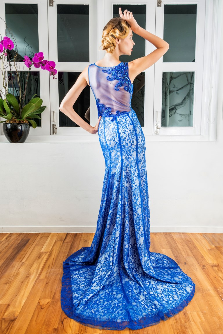 Cobalt Blue Lace Mesh Back Mermaid Gown