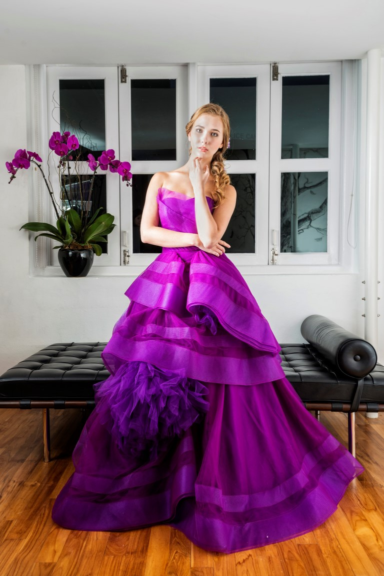 Deep Violet Layered Gown