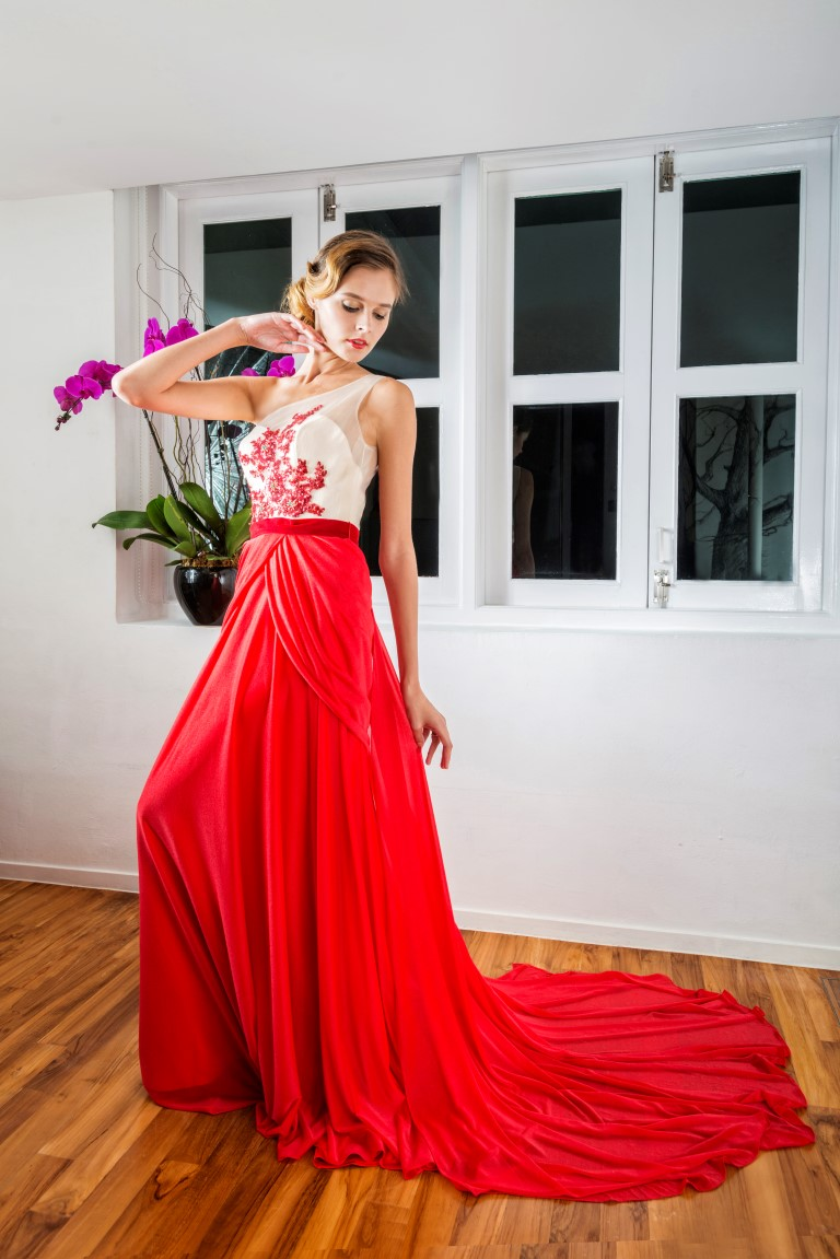 One Shoulder Contrast Sequin Drape Gown
