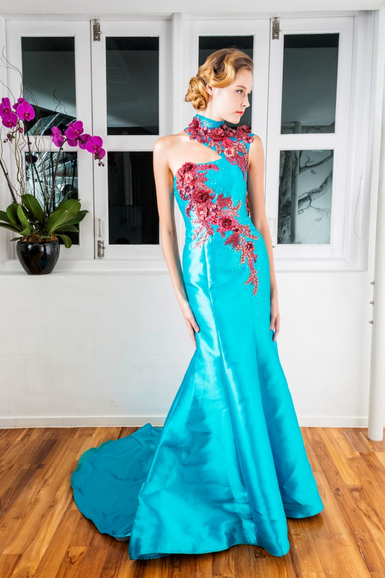 Turquoise Floral Contrast Detail Mermaid Gown