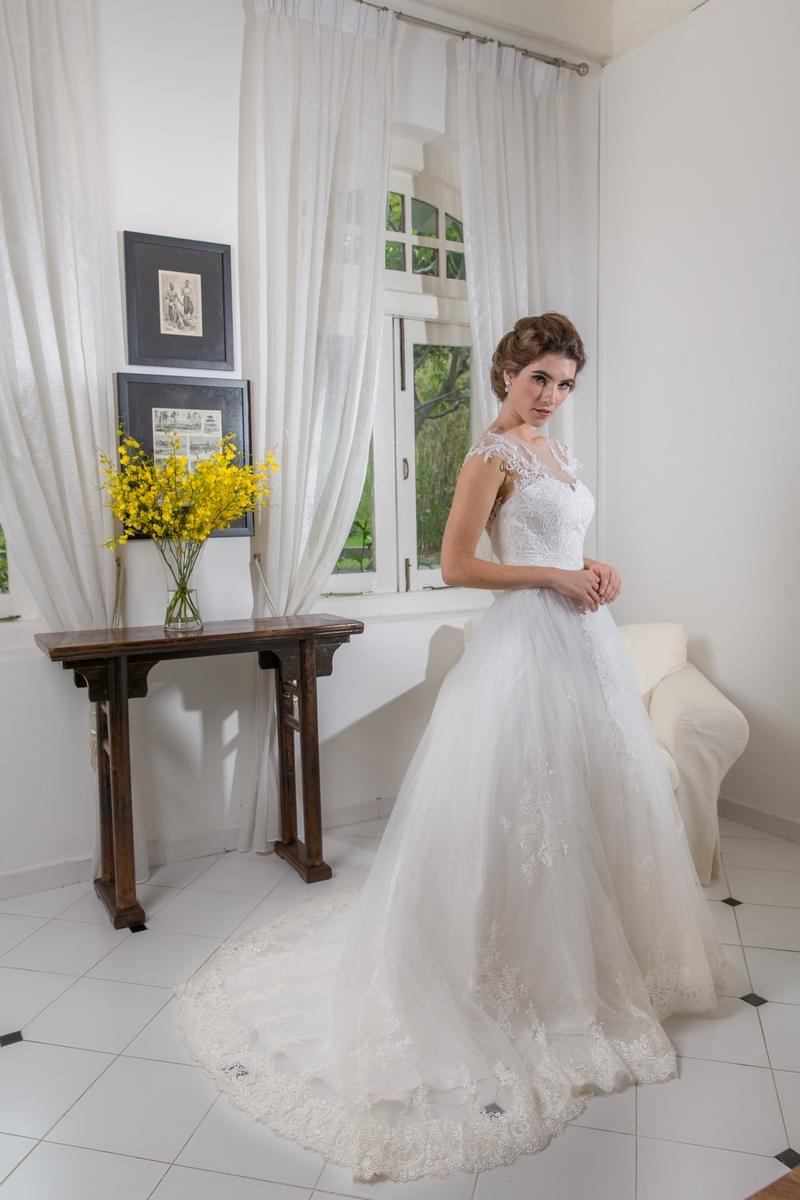 Illusion Neckline Cap Sleeves Lace Bodice Low V Back Wedding Dress