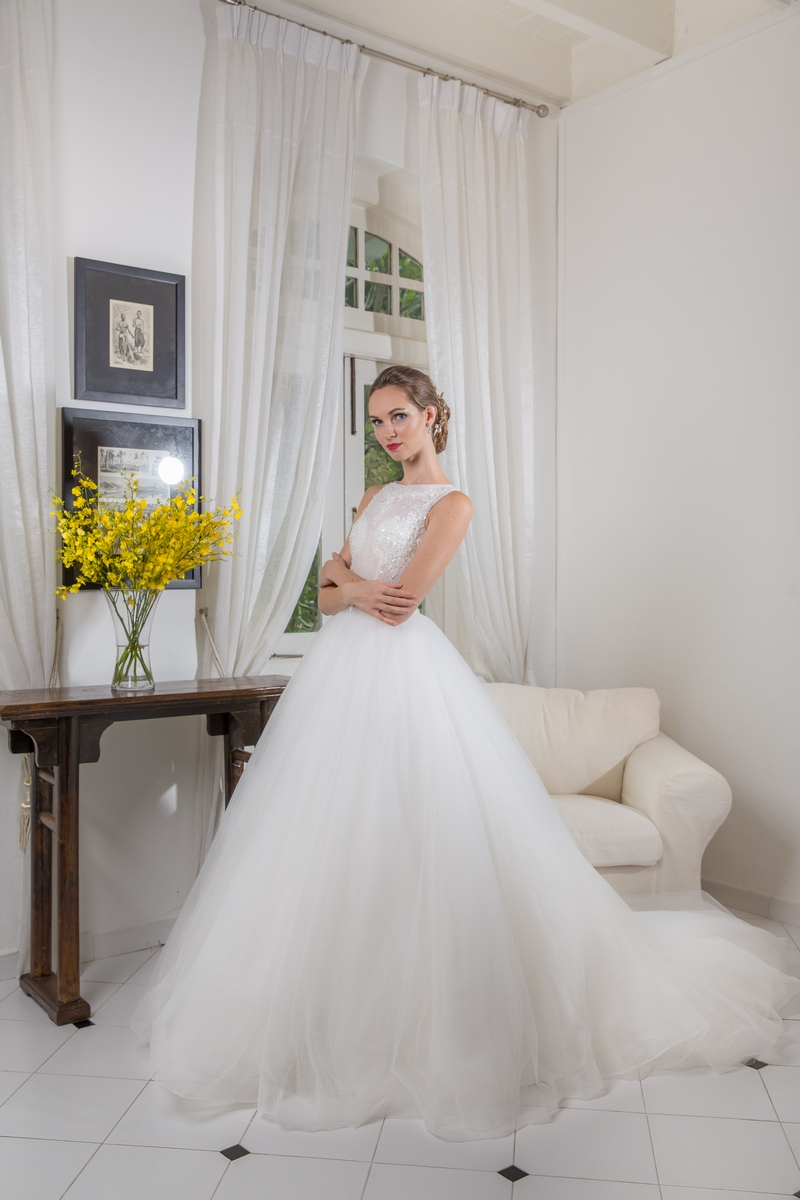 High Neck Lace Beading Bodice Ballgown Wedding Dress