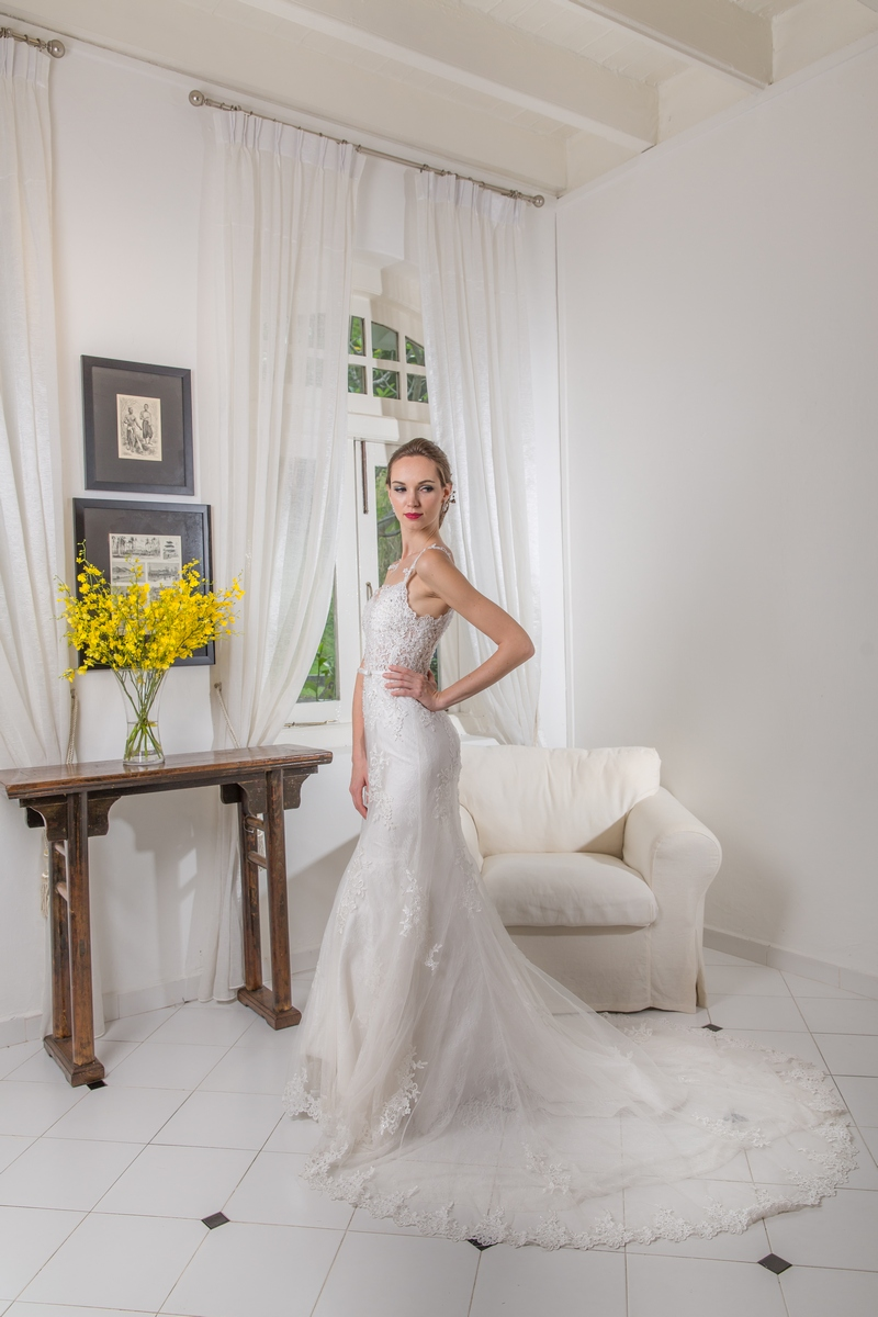 Full Lace See Through Bodice Mermaid Wedding Dress