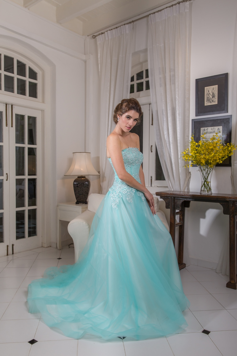 Tiffany Blue Lace Bodice Flowly Evening Dress