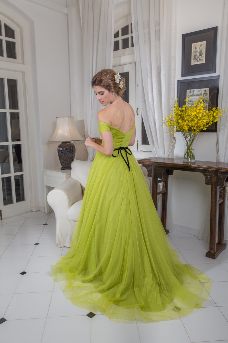 Lime Green Pleated Off Shoulder Evening Dress