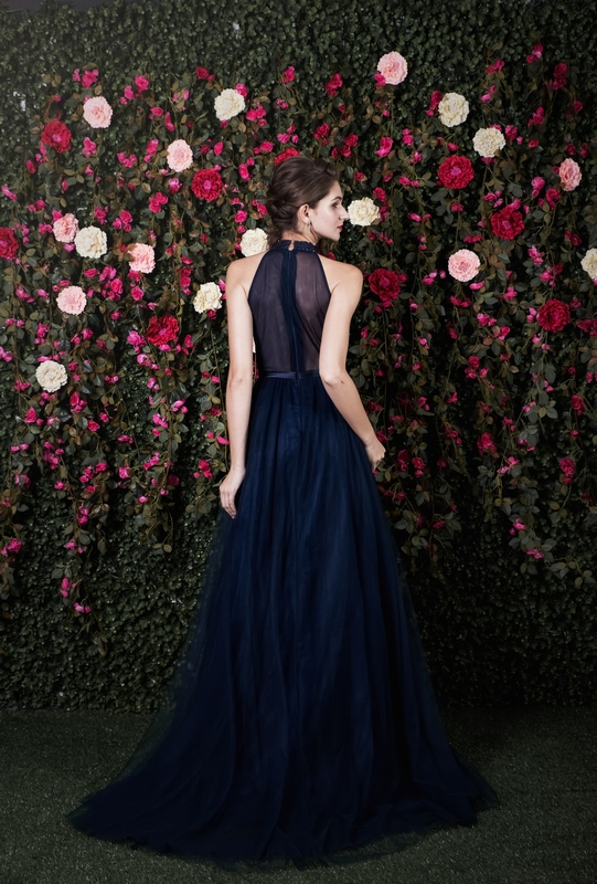 Halter Navy Beaded See Illusion Back Flowy Gown